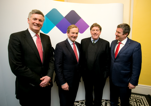 Dr Adrian Howd, CEO Malin, An Taoiseach, Enda Kenny TD, Kelly Martin non-executive director, Malin and Chairman John Given Malin at the launch of Malin's IPO at the ISE