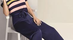 Triple Stripe T-Shirt, €22 and Chic Wide-Leg Trousers, €56 by 'Mollie Loves' at Oasis