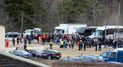 Families of the Dead arriving for a service at the Village of Le Vernet near the Crash Site Photo: Kyran O'Brien