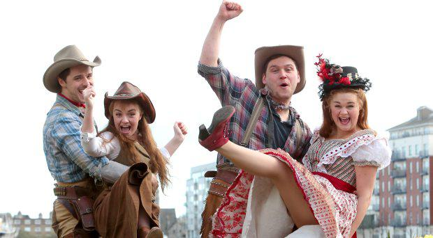 Ashley Day,Charlotte Wakefield,James O Connnell and Lucy May Barker-members of the cast of classic American musical Oklahoma!