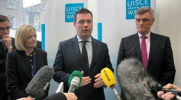 (L to R) Elizabeth Arnett head of communications at Irish Water Minister of Environment, Community & Local Government Alan Kelly TD John Tierney Managing Director of Irish Water during a briefing to media at Irish Water HQ Talbot Street Dublin