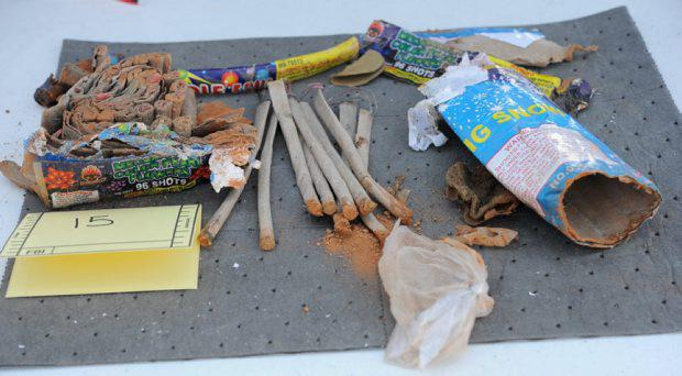 Fireworks are pictured in this undated handout evidence photo provided by the U.S. Attorney's Office in Boston, Massachusetts on March 25, 2015