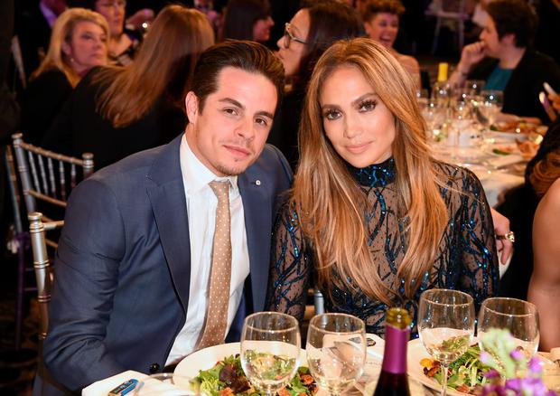Recording artist Jennifer Lopez (R) and Choreographer Casper Smart attend the 25th Annual GLAAD Media Awards at The Beverly Hilton Hotel