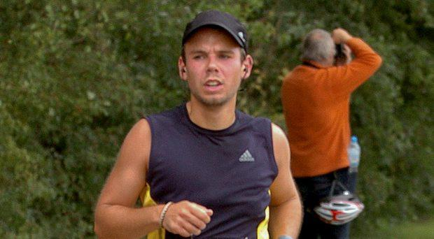 Andreas Lubitz runs the Airportrace half marathon in Hamburg in this September 13, 2009 file photo. The co-pilot who appears to have deliberately crashed Germanwings plane carrying 149 passengers into the French Alps received psychiatric treatment for a