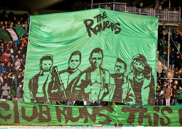 27 March 2015; , Shamrock Rovers supporters before the start of the game. SSE Airtricity League Premier Division, Shamrock Rovers v Bohemians. Tallaght Stadium, Tallaght, Co. Dublin. Picture credit: David Maher / SPORTSFILE