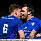 27 March 2015; Jordi Murphy, left, is congratulated by his Leinster team-mate Cian Healy, right, after scoring his side's third try. Guinness PRO12, Round 18, Leinster v Glasgow Warriors. RDS, Ballsbridge, Dublin. Picture credit: Stephen McCarthy / SPORTSFILE