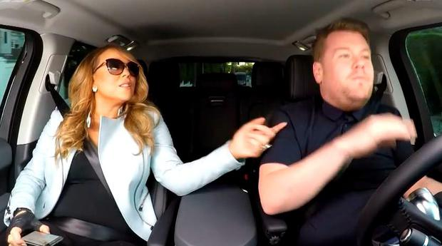 Mariah Carey and James Corden doing carpool karaoke
