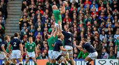 Paul O'Connell, Ireland, wins a lineout against Scotland