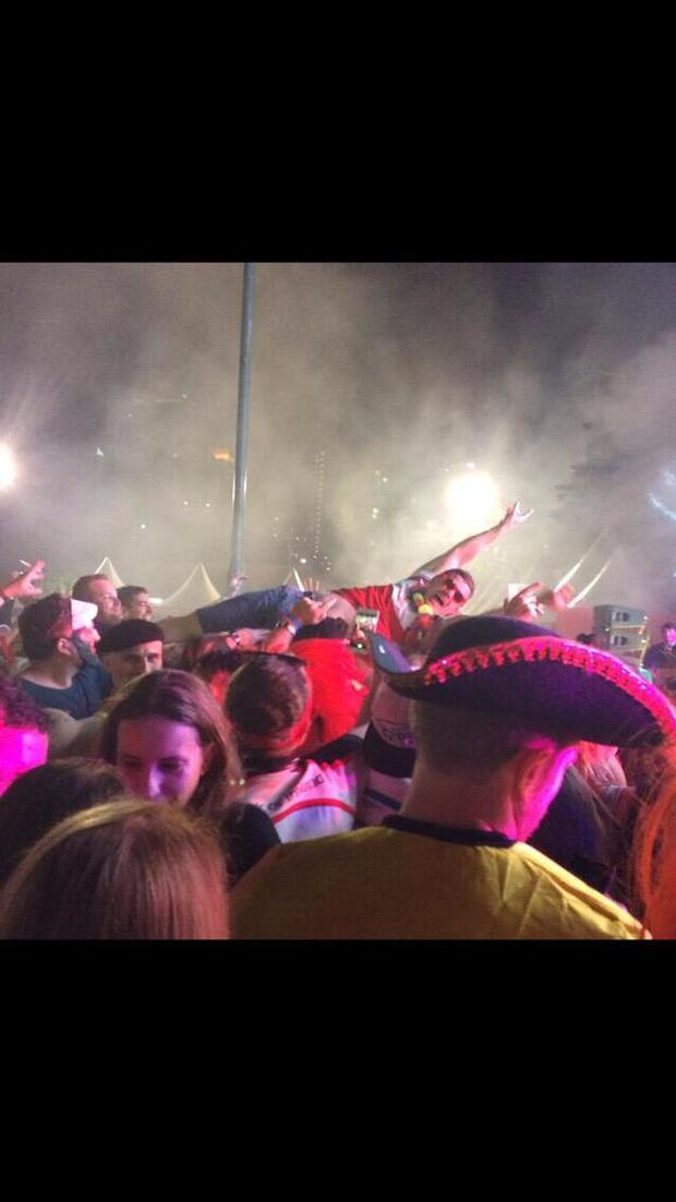 Brian O'Driscoll crowd surfing in Hong Kong