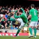 Kyle Lafferty scores Northern Ireland's first goal against Finland during their Euro 2016 qualifier at Windsor Park