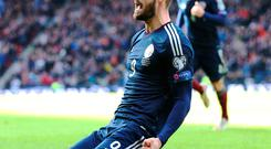 Steven Fletcher celebrates one of his three goals as he scored the first Scottish hat-trick in 46 years
