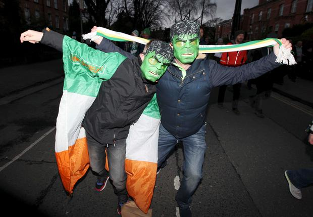 29/03/15 Fans pictured as Ireland vs Poland in the UEFA European Championship Qualifying Round at the Aviva stadium on Lansdowne Road, Dublin this evening... Pic Stephen Collins/Collins Photos