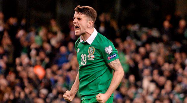 Robbie Brady, Republic of Ireland, celebrates after Shane Long scored their side's equalising goal