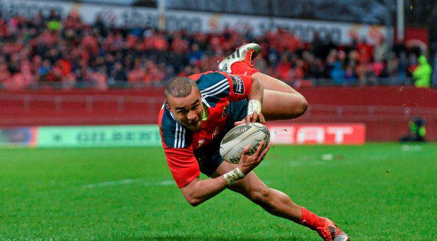 28 March 2015; Simon Zebo, Munster, on his way to scoring his side's second try