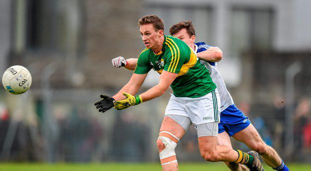 Paul O'Donoghue, Kerry, in action against Karl O'Connell, Monaghan. Allianz Football League, Division 1, Round 6, Kerry v Monaghan. Austin Stack Park, Tralee, Co. Kerry. Picture credit: Stephen McCarthy / SPORTSFILE