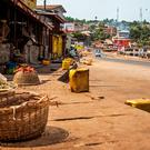 A usually busy street is deserted as Sierra Leone enters the second day of a three day country wide lockdown on movement of people due to the Ebola virus in the city of Freetown, Sierra Leone. (AP Photo/ Michael Duff)
