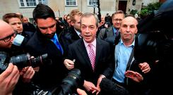 Ukip leader Nigel Farage speaks to the media after unveiling his party's Pledges to Britain during a media call in London, as one of the most closely-contested general elections for decades formally gets under way today. Photo: PA