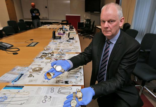 Detective Inspector Noel Browne shows off a selection of jewellery recovered by Gardai under Operation Fiacla in the month of February 2015