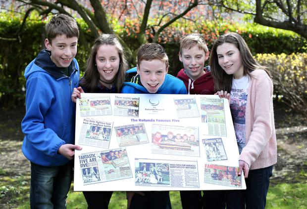 From left to right are, Conor, Amy, Cian, Rory, and Derbhail Cassidy, along with their parents Veronica and Kevin, at the Rotunda Hospital