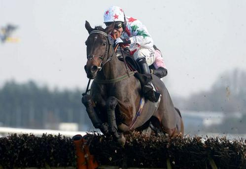 Carrigmoorna Rock, here winning at Newbury with AP McCoy up, is heading for the mares' hurdle at Fairyhouse on Sunday, according to Robert Tyner