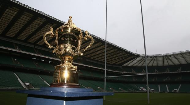 The Webb Ellis Cup pitchside at Twickenham Stadium