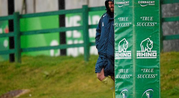 John Muldoon takes a break during Connacht training at the Sportsground