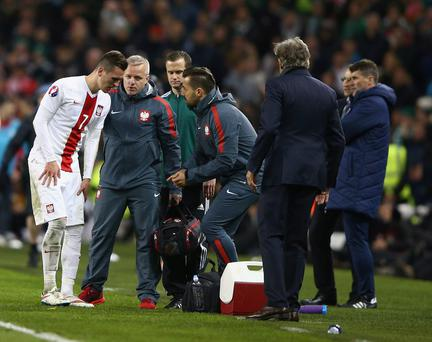 While the Irish crowd were enthused by the substitute's crunching tackle on the Polish attacker, it has been confirmed Milik strained his knee ligaments in the process.