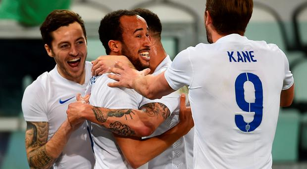 Andros Townsend celebrates his goal with Tottenham team-mates Ryan Mason, Kyle Walker and Harry Kane