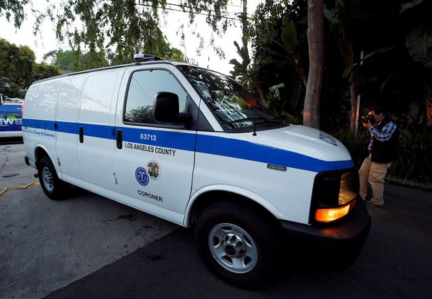 The Los Angeles County Coroner van arrives at the house of Andrew Getty, 47, in the Hollywood Hills section of Los Angeles, California March 31, 2015. The grandson of billionaire Getty oil founder J. Paul Getty, Andrew Getty, was found dead at age 47 on Tuesday at his home in Los Angeles, the Los Angeles Times reported. REUTERS/Kevork Djansezian