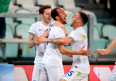 England's Andros Townsend celebrates scoring his leveller