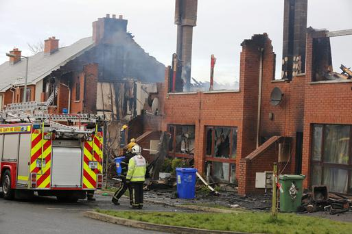 The scene of the fire at The Millfield Manor Estate, Newbridge, Co. Kildare this morning. PIC COLIN O'RIORDAN