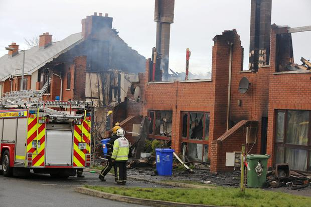 The scene of the fire at The Millfield Manor Estate, Newbridge, Co. Kildare this morning. PIC COLIN CO'RIORDAN