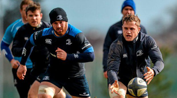 Leinster's Jamie Heaslip, right, and Sean O'Brien in action during squad training