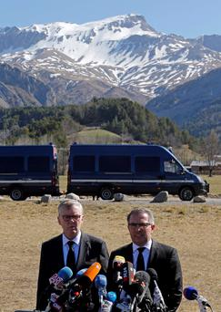 Lufthansa Chief Executive Carsten Spohr (R) and Germanwings Managing Director Thomas Winkelmann speak during a news conference near the memorial for the victims of the air disaster in the village of Le Vernet, near the crash site of the Germanwings Airbus A320 in French Alps April 1, 2015. Reuters/Jean-Paul Pelissier