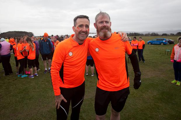 Cycle Against Suicide founder Jim Breen (left) and Gary Seery (right) from Bayside who will be competing in a North Pole Marathon during a 5k fun run in the Phoenix Park, Dublin