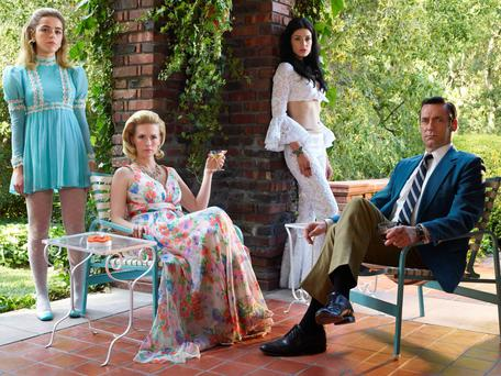 Mad Men. Pictured: Kiernan Shipka as Sally Draper, January Jones as Betty Francis, Jessica Pare as Megan Draper and Jon Hamm as Don Draper. See PA Feature TV Mad Men. Photo/Frank Ockenfels/AMC/Sky.