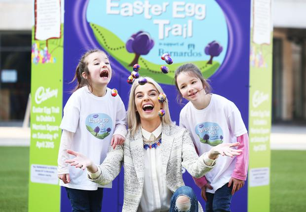 Pippa O' Connor was joined by twins Grace and Sarah Thompson (7) to launch Cadbury's biggest Easter celebration yet. Families can choose from the morning event or the afternoon event. All proceeds from the day are going to Barnardos and can be purchased on website, www.eastereggtrail.com