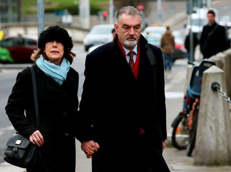 Ian Bailey and Jules Thomas arriving at the Four Courts in Dublin Credit: Brian Lawless/PA Wire