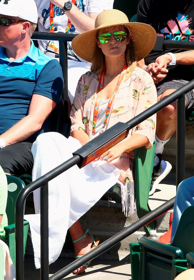 KEY BISCAYNE, FL - MARCH 29: Kim Sears fiancee of Andy Murray of Great Britain watches him in action against Santiago Giraldo of Columbia in their third round match during the Miami Open Presented by Itau at Crandon Park Tennis Center on March 29, 2015 in Key Biscayne, Florida. (Photo by Clive Brunskill/Getty Images)