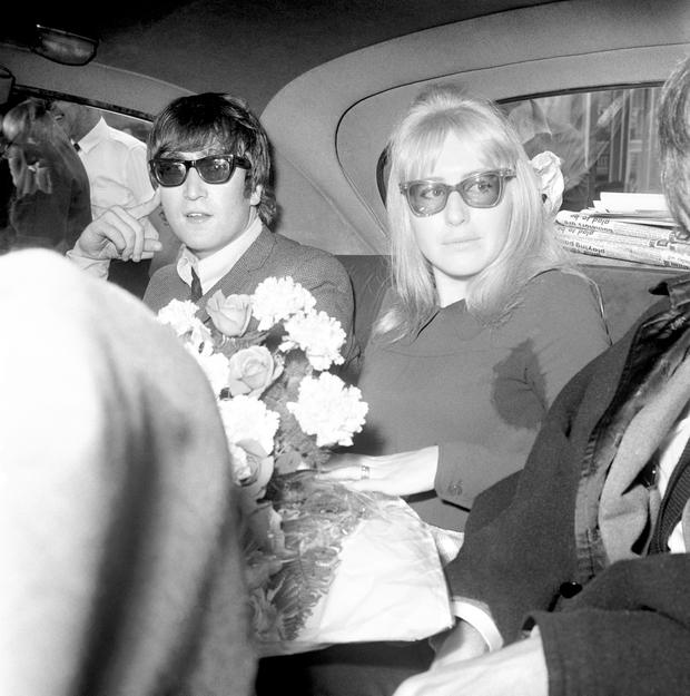 1964: John Lennon with his then wife Cynthia Lennon who has died today at her home in Spain. Photo: PA Wire
