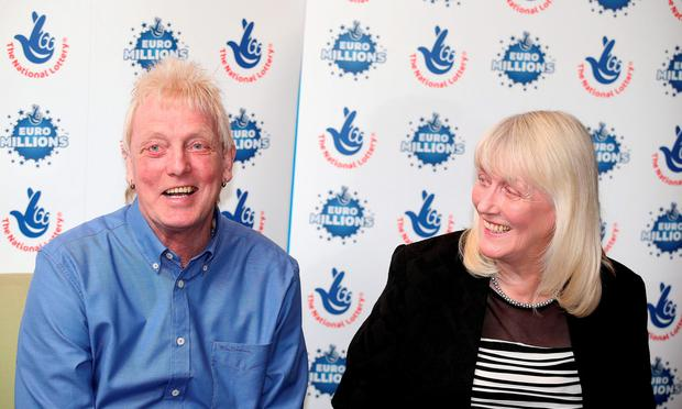 David and Kathleen Long after winning £1 million in the EuroMillions for the second time. Photo: Lynne Cameron/PA Wire