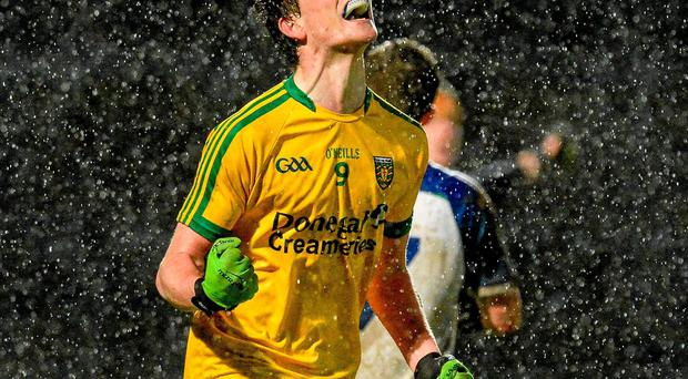 Donegal's Ciaran Thompson celebrates after scoring his side's fourth goal against Monaghan in their EirGrid Ulster U-21 semi-final match