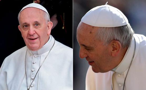 Pope Francis, left, when he came to the Vatican in 2013; and a notably heavier pontiff in St Peter's Square yesterday, right.
