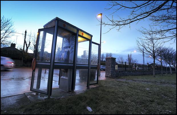 The telephone box at the front of the Lambeecher Estate in Balbriggan in which a hoax bomb threat phone call was allegedly made to INTEL