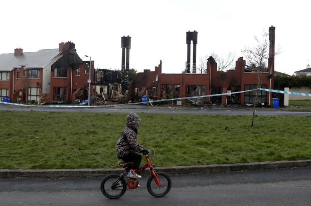 01/04/15 The scene pictured this morning of a house fire which destroyed 6 houses in the Millford Manor Estate, Newbridge, Co. Kildare