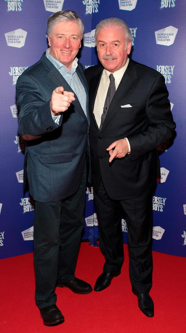 Pat Kenny and Marty Whelan at the opening night of Jersey Boys at the Bord Gais Energy Theatre,Dublin
