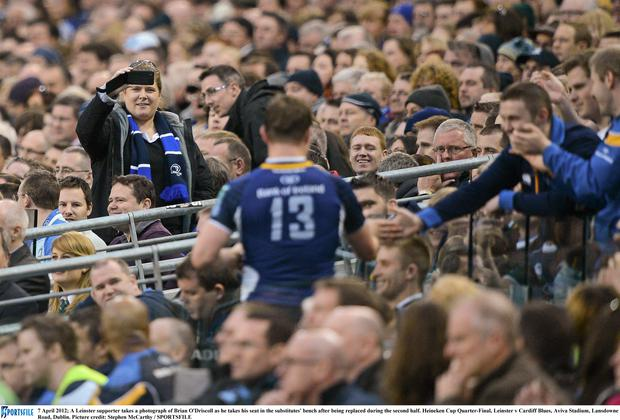Brian O'Driscoll with Leinster fans