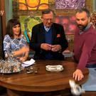 Daithi pretends to smash the '€4,500' teapot as a horrified Maura looks on