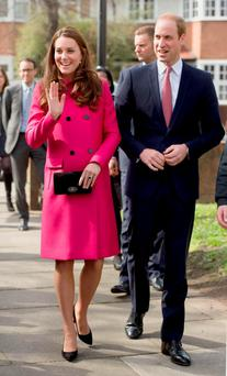 The Duke and Duchess of Cambridge arrive for their visit to the XLP community bus and the XLP mobile recording studio on the Hazel Grove Estate