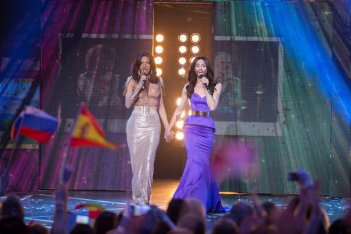 Programme Name: Eurovision's Greatest Hits - TX: 03/04/2015 - Episode: n/a (No. 1) - Picture Shows: Eurovision finale Dana International, Conchita Wurst - (C) BBC - Photographer: Guy Levy